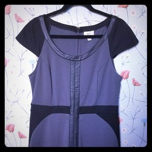Gray bodycon dress with faux leather detail